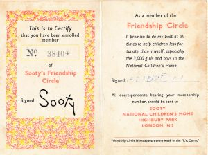 Membership card for Sooty's Friendship Circle